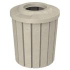 42 Gallon Beige Granite Slatted Trash Receptacle, Flat Top 11.5