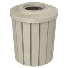 "42 Gallon Beige Granite Slatted Trash Receptacle, Flat Top 11.5"" Opening"