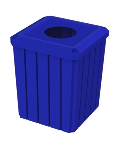 """52 Gallon Blue Square Slatted Trash Receptacle, 11.5"""" Opening"""