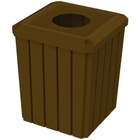 """52 Gallon Brown Square Slatted Trash Receptacle, 11.5"""" Opening"""