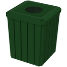 """52 Gallon Green Square Slatted Trash Receptacle, 11.5"""" Opening"""