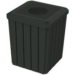 "52 Gallon Black Square Slatted Trash Receptacle, 11.5"" Opening"