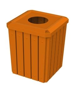 """52 Gallon Orange Square Slatted Trash Receptacle, 11.5"""" Opening"""