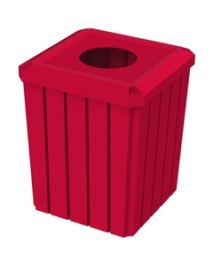 """52 Gallon Red Square Slatted Trash Receptacle, 11.5"""" Opening"""