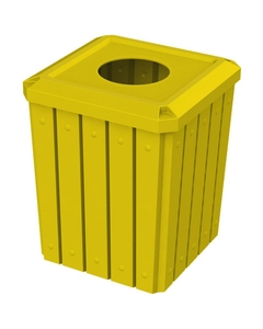 """52 Gallon Yellow Square Slatted Trash Receptacle, 11.5"""" Opening"""