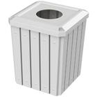 "52 Gallon White Square Slatted Trash Receptacle, 11.5"" Opening"