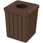 "52 Gallon Brown Granite Square Slatted Trash Receptacle, 11.5"" Opening"