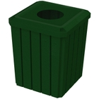 "52 Gallon Green Granite Square Slatted Trash Receptacle, 11.5"" Opening"