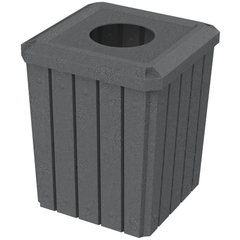 "52 Gallon Dark Granite Square Slatted Trash Receptacle, 11.5"" Opening"