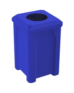 """32 Gallon Blue Square Trash Receptacle, Flat Top 11.5"""" Opening Lid"""