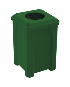 """32 Gallon Green Square Trash Receptacle, Flat Top 11.5"""" Opening Lid"""