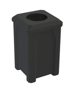 "32 Gallon Black Square Trash Receptacle, Flat Top 11.5"" Opening Lid"