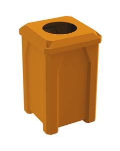 "32 Gallon Orange Square Trash Receptacle, Flat Top 11.5"" Opening Lid"