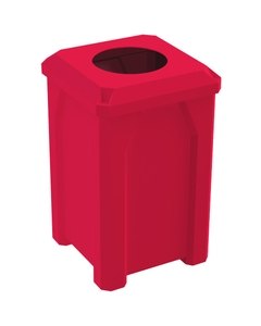 """32 Gallon Red Square Trash Receptacle, Flat Top 11.5"""" Opening Lid"""