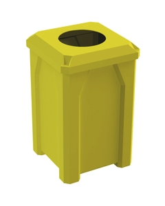 """32 Gallon Yellow Square Trash Receptacle, Flat Top 11.5"""" Opening Lid"""