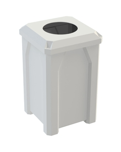 """32 Gallon White Square Trash Receptacle, Flat Top 11.5"""" Opening Lid"""