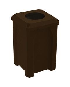 """32 Gallon Brown Granite Square Trash Receptacle, Flat Top 11.5"""" Opening Lid"""