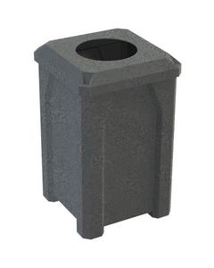 """32 Gallon Dark Granite Square Trash Receptacle, Flat Top 11.5"""" Opening Lid"""