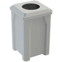 "32 Gallon Light Granite Square Trash Receptacle, Flat Top 11.5"" Opening Lid"