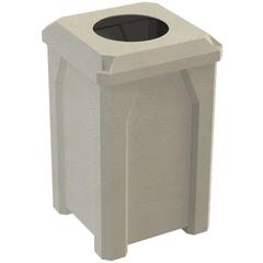 "32 Gallon Beige Granite Square Trash Receptacle, Flat Top 11.5"" Opening Lid"
