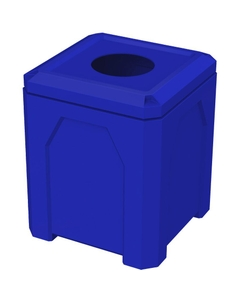 """52 Gallon Blue Square Trash Receptacle, 11.5"""" Opening"""