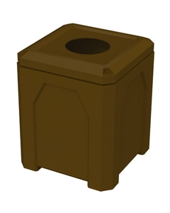 """52 Gallon Brown Square Trash Receptacle, 11.5"""" Opening"""