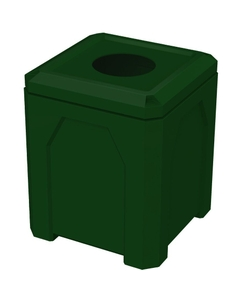 """52 Gallon Green Square Trash Receptacle, 11.5"""" Opening"""