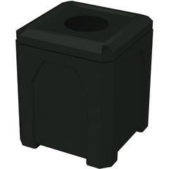 "52 Gallon Black Square Trash Receptacle, 11.5"" Opening"