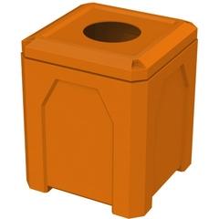 "52 Gallon Orange Square Trash Receptacle, 11.5"" Opening"