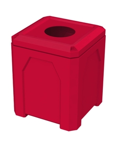 """52 Gallon Red Square Trash Receptacle, 11.5"""" Opening"""