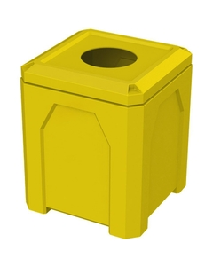 """52 Gallon Yellow Square Trash Receptacle, 11.5"""" Opening"""