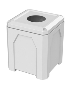 """52 Gallon White Square Trash Receptacle, 11.5"""" Opening"""