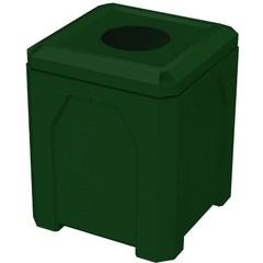 52 Gallon Green Granite Square Trash Receptacle, 11.5