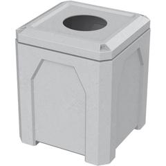 "52 Gallon Light Granite Square Trash Receptacle, 11.5"" Opening"