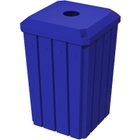 """32 Gallon Blue Slatted Square Recycling Receptacle, Flat Top 4"""" Opening Lid"""