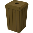 """32 Gallon Brown Slatted Square Recycling Receptacle, Flat Top 4"""" Opening Lid"""