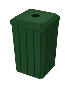 """32 Gallon Green Slatted Square Recycling Receptacle, Flat Top 4"""" Opening"""