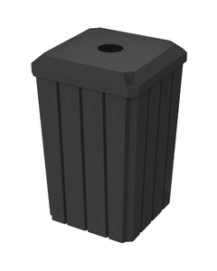 """32 Gallon Black Slatted Square Recycling Receptacle, Flat Top 4"""" Opening Lid"""
