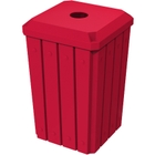 """32 Gallon Red Slatted Square Recycling Receptacle, Flat Top 4"""" Opening Lid"""