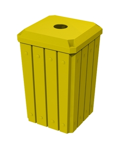 """32 Gallon Yellow Slatted Square Recycling Receptacle, Flat Top 4"""" Opening"""