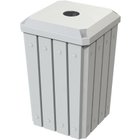 """32 Gallon White Slatted Square Recycling Receptacle, Flat Top 4"""" Opening"""