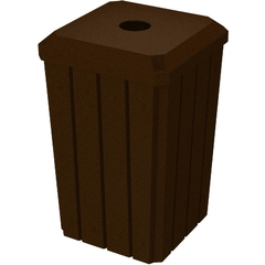 """32 Gallon Brown Granite Slatted Square Recycling Receptacle, Flat Top 4"""" Opening"""