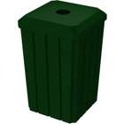 """32 Gallon Green Granite Slatted Square Recycling Receptacle, Flat Top 4"""" Opening"""