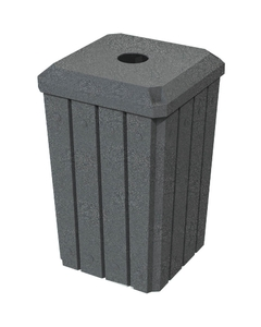 """32 Gallon Dark Granite Slatted Square Recycling Receptacle, Flat Top 4"""" Opening"""