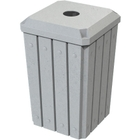 """32 Gallon Light Granite Slatted Square Recycling Receptacle, Flat Top 4"""" Opening"""