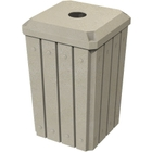 """32 Gallon Beige Granite Slatted Square Recycling Receptacle, Flat Top 4"""" Opening"""