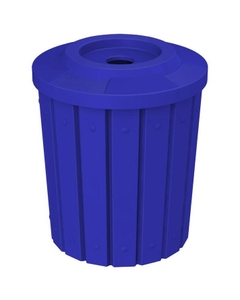 """42 Gallon Blue Slatted Recycling Receptacle, Flat Top 4"""" Opening"""
