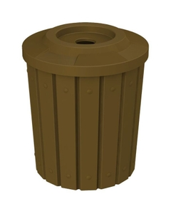 """42 Gallon Brown Slatted Recycling Receptacle, Flat Top 4"""" Opening"""
