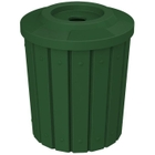 """42 Gallon Green Slatted Recycling Receptacle, Flat Top 4"""" Opening"""
