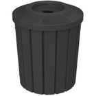 """42 Gallon Black Slatted Recycling Receptacle, Flat Top 4"""" Opening"""